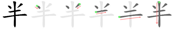 Chinese stroke order: Character spanning strokes last