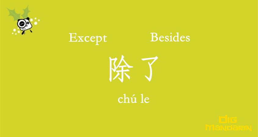 Ways To Express 'except' And 'besides' In Chinese With 除了