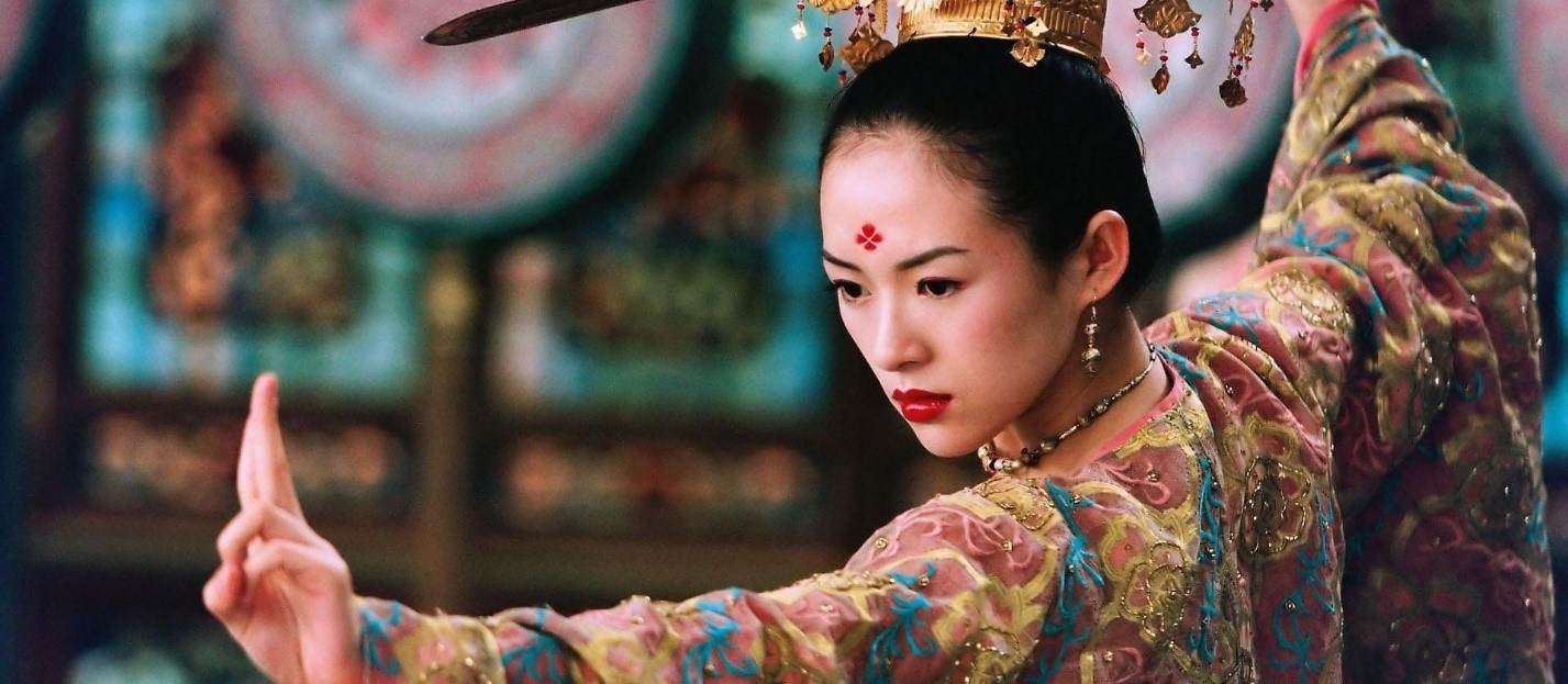 Image: Ms. Zhang Ziyi, who also starred in Crouching Tiger, Hidden Dragon (2000). This image is from House of Flying Daggers (2004).