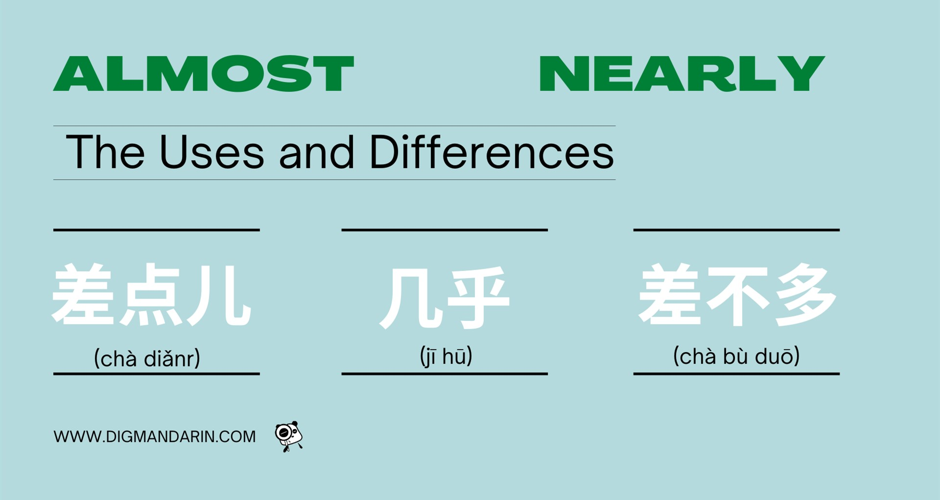 """Three words for 'almost' in Chinese – Using """"差点儿"""",""""几乎""""and""""差不多"""""""